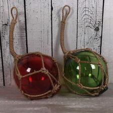 Deko Fischerkugel aus Glas 2er-SET grün und rot 10cm maritime Deko Fischernetz