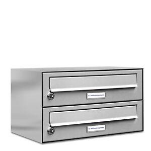 2er Premium Edelstahl Briefkasten Anlage für Außen Wand Design Postkasten 1x2