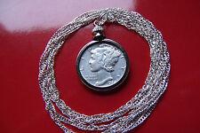 "High Grade Antique Silver Mercury Dime Pendant on a 30"" 925 Silver Wavy Chain"