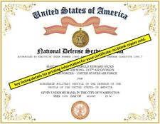 NATIONAL DEFENSE SERVICE MEDAL CERTIFICATE ~ With Free Printing (Any Branch)