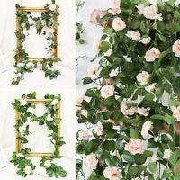 2x7.5Ft Artificielle Soie Rose Fleur Ivy Vine Leaf Guirlande De Noce Guirlandes