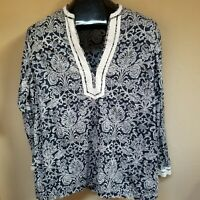 Additions by Chico's Womens Top Long Sleeve Blouse 100% Cotton Shirt Blue Size 2