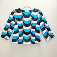 Milly New York Size 8 Top Geometric Print Leather Shoulder Blue Tan Blouse