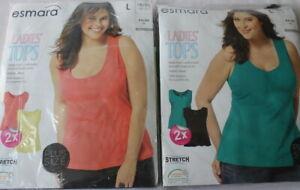 Set 4 pack Women Cotton Vest Tops Pluse Size Sleeveless Plain Summer L- XXL Tank