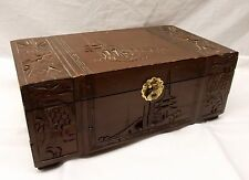 Vtg Carved Wood Chinese Jewelry Music Box Chest Mirror Lid Longevity Feng Shui