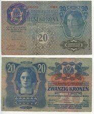 GB311 - Banknote Österreich 20 Kronen 1913 Abstempelung Jugoslawien 1921 Serbia