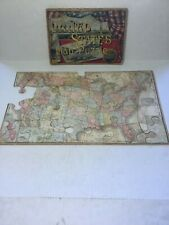 """ANTIQUE PARKER BROTHERS UNITED STATES MAP PUZZLE, 1907, """"RARE"""""""