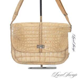 Anonymous Vintage Natural Wheat Genuine Alligator Crocodile Turnlock Flap Bag NR