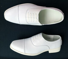 Mens Leather Round Toe White Oxfords Low Heel Dress Shoes Business Size