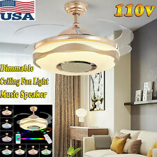 """36"""" 7Color Dimmable Led Ceiling Fan Light & Bluetooth Music Speaker &App Control"""
