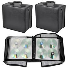 2 Set 400 Capacity CD DVD Storage Carrying Case Media Organizer Wallet Binder