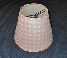 PINK with WHITE FLOWERS CLIP ON LAMP SHADE 4 1/2  IN TOP 8 IN BOT 6 IN TALL