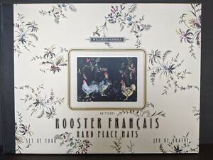 Williams- Sonoma Hard Place Mats Rooster Francais Jeu De Quatre Set of 4  In Box