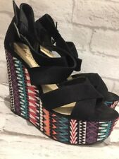 Women's NEW LOOK Aztec/black Wedge Strap Sandal Shoes Uk Size 5 EU38