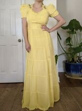 Vintage 30s Yellow Sheer Chiffon Tiered Puff Shoulder Maxi Dress With Slip S/M
