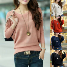 Fashion Women Solid Hollow Out Batwing Sleeve Sweater Casual Knitted Pullover LJ