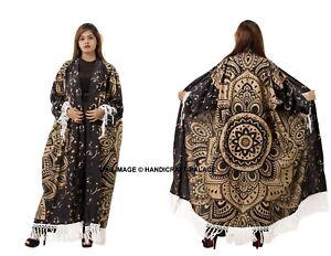 Or Ombre Mandala Femmes Coton Kimono Cardigan Bikini Haut Enveloppant Plage