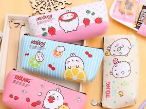 2 PACKS Girl PU Canvas Pencil Pen Case Cosmetic Makeup Coin Pouch Zipper Bag