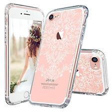 IPhone 7 Plus Case MOSNOVO White Henna Flower Floral Lace Clear Design Printed
