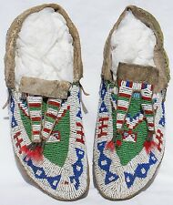 Pair Of Last Quarter 19th Century Sioux Indian Beaded Sinew Sewn Hide Moccasins