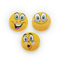 30pcs 2 Hole Mixed Smiling Round Wood Buttons Decor Sewing Scrapbooking 25mm