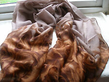 E244 Beige Brown ROSE Floral Silver Glitter Lightweight Ladies Scarf Pashmina