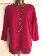 NEW EX WALLIS FUCHSIA PINK MOCK TWO LAYER FINE KNIT TOP SIZE 8 - 22