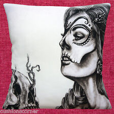 Day of the Dead Cushion Cover 16x16 40cm Mexican Sugar Skull Girl Black White