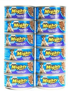 12 Purina Mighty Dog Protein Packed Hearty Pulled Style Chicken Dinner in Gravy