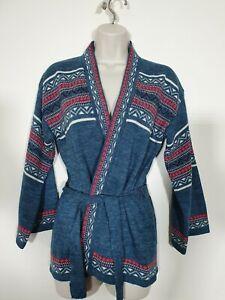 Superb Vintage 70's KEYNOTE Scandinavian Style Belted Cardigan Size 8-10