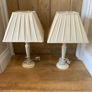 Pair Of LAURA ASHLEY Ivory Painted Wooden Lamps Table Bedside Pleated Shades