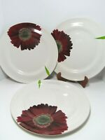 """Made in Portugal PB White Red Daisy Floral 3 Dinnerware Plates 11 3/4"""" Round"""