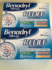 2 Boxes Of Benadryl Allergy Relief 24 Capsules.(48 In Total) 10/2022