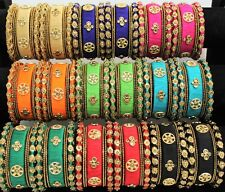 Indian Bollywood Silk Thread Women Bangles Set Jewelry Partywear Costume Match