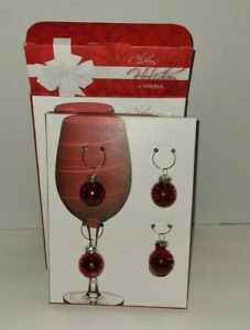 Cheers Holiday by Mikasa Set of 4 Ruby Ornament Wine Charms NEW