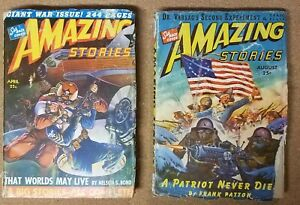 AMAZING STORIES 2 pulps 1943 April, August great covers! GD Paul back cover art
