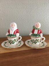 Lenox Christmas Holiday Santa & Mrs. Claus Tea Cup Salt And Pepper Shakers