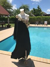 MARCHESA BLACK SILK GOLD NECK TRIM DRAPE 1 SHOULDER SIDES SLITS GOWN DRESS Sz 10