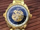 Minoir Germany automatic gold watch GMT with little UTC watch skeletton - new -
