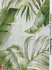 Tommy Bahama palmiers green orange blue off white cotton print fabric bythe yard