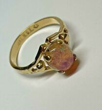 One Incredible Rare Pink Purple Fire Opal Gemstone Ring, 18 KT H.G.E Marking