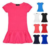 Girls Peplum Top Kids Short Sleeve Plain Tops New Age 7 8 9 10 11 12 13 Years