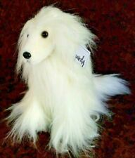 """Purely Luxe Dog Stuffed Animal Plush Afghan Hound Puppy White 9"""" Soft Cute Nwt"""