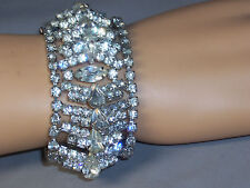 VINTAGE WIDE BRACELET WITH 18 ROWS OF PEAR AND ROUND RHINESTONES 7.25 IN. LONG