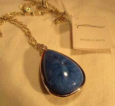 Charter Club Blue 2 Sided Faceted Sapphire Rhinestone & Stone Pendant NWT