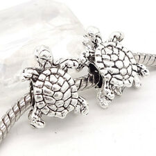 5pcs Tibetan silver turtle Charm Spacer beads fit 925 European Bracelet Chain #1
