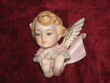 1960s Norcrest Japan Bisque Porcelain Angel w/ Roses Wall Hanging Plaque Gilt