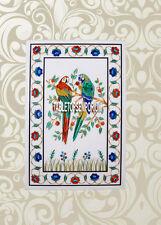 4'x2' Marble Dining Table Top Multi Parrot Art Marquetry Inlay Christmas Decor