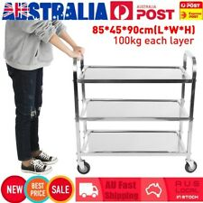 3 Tiers Stainless Restaurant Trolley Kitchen Food Service Cart With Brake AU Hot