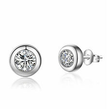 Ladies Fashion Jewellery Inlaid Round Zircon 925 Sterling Silver Stud Earrings